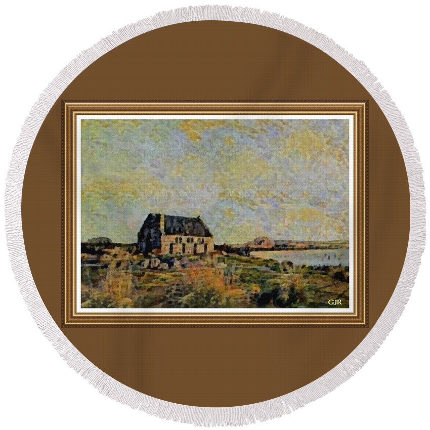 Amsterdam Round Beach Towel featuring the digital art An Old Scottish Cottage Overlooking A Loch L A S With Decorative Ornate Printed Frame. by Gert J Rheeders