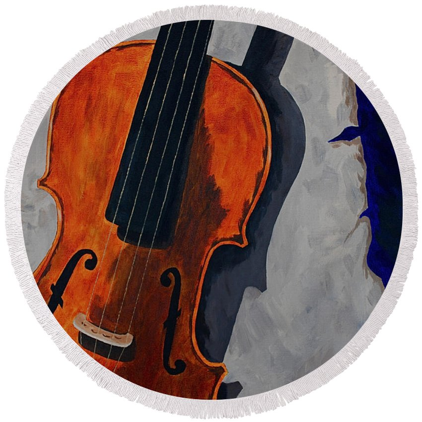 Violin Music Old Song Round Beach Towel featuring the painting An Old Song by Herschel Fall