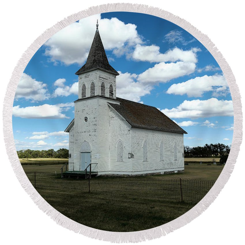 Church Round Beach Towel featuring the photograph An Old Wooden Church by Jeff Swan