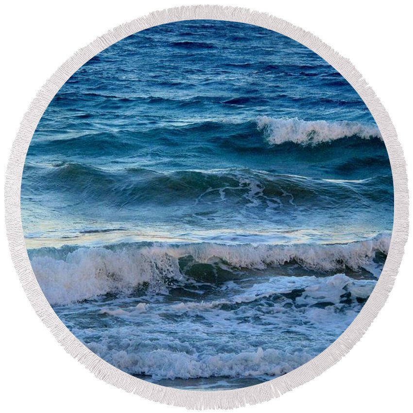 Sea Round Beach Towel featuring the photograph An Unforgiving Sea by Ian MacDonald