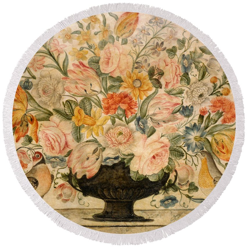 Still Life Round Beach Towel featuring the drawing An Urn Containing Flowers On A Ledge by Octavianus Montfort