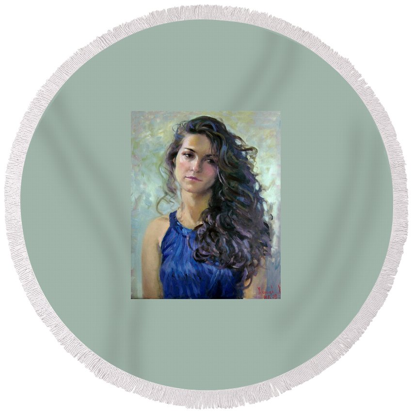 Portrait Round Beach Towel featuring the painting Ana by Ylli Haruni