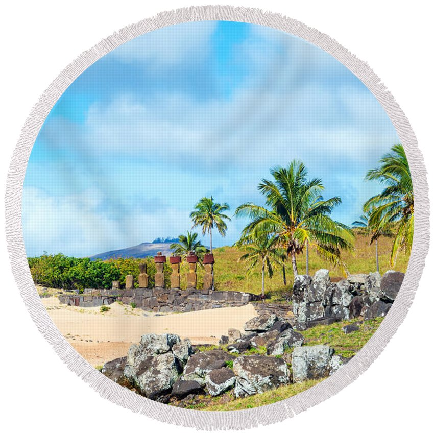 Chile Round Beach Towel featuring the photograph Anakena At Easter Island by Jess Kraft