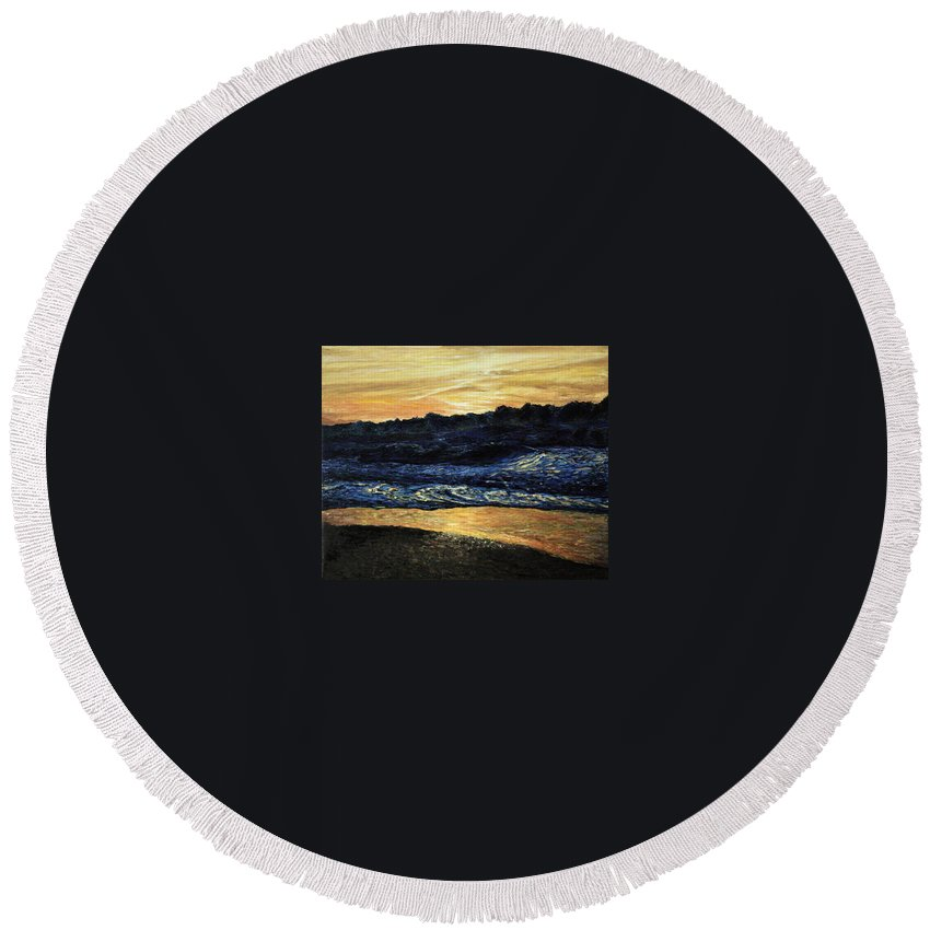 Landscape Round Beach Towel featuring the painting Anarchy by Pablo de Choros