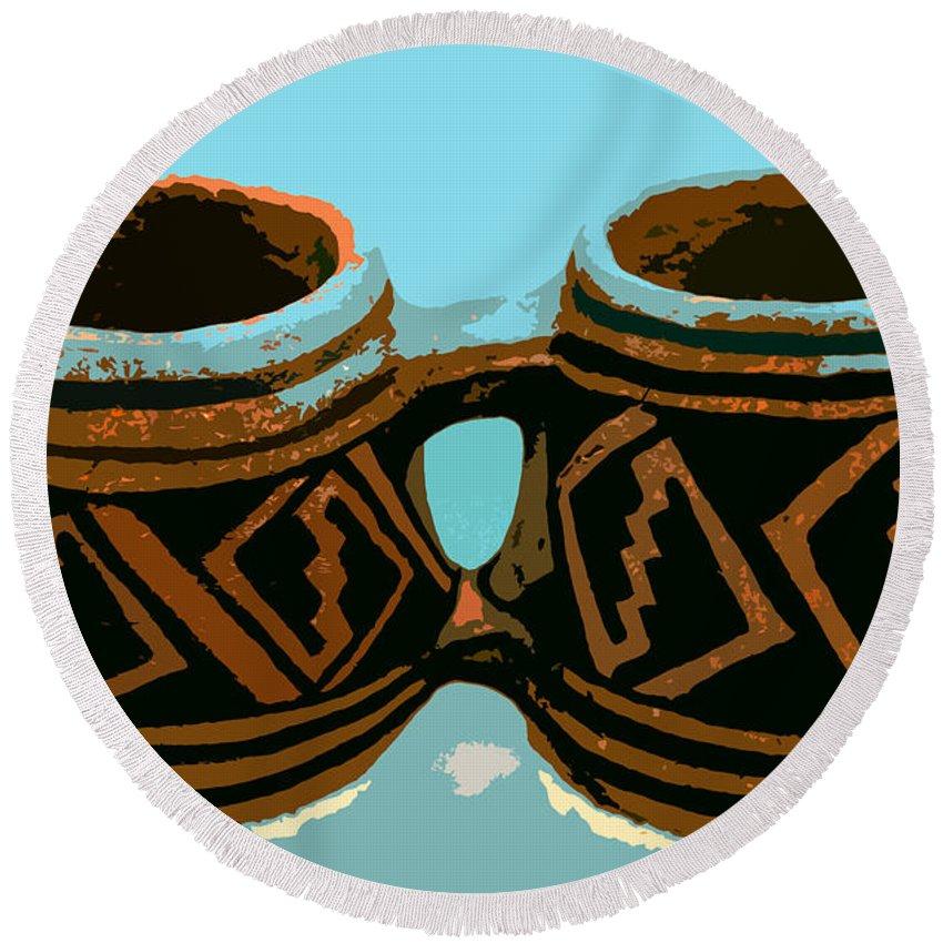 Anasazi Round Beach Towel featuring the painting Anasazi Double Mug by David Lee Thompson