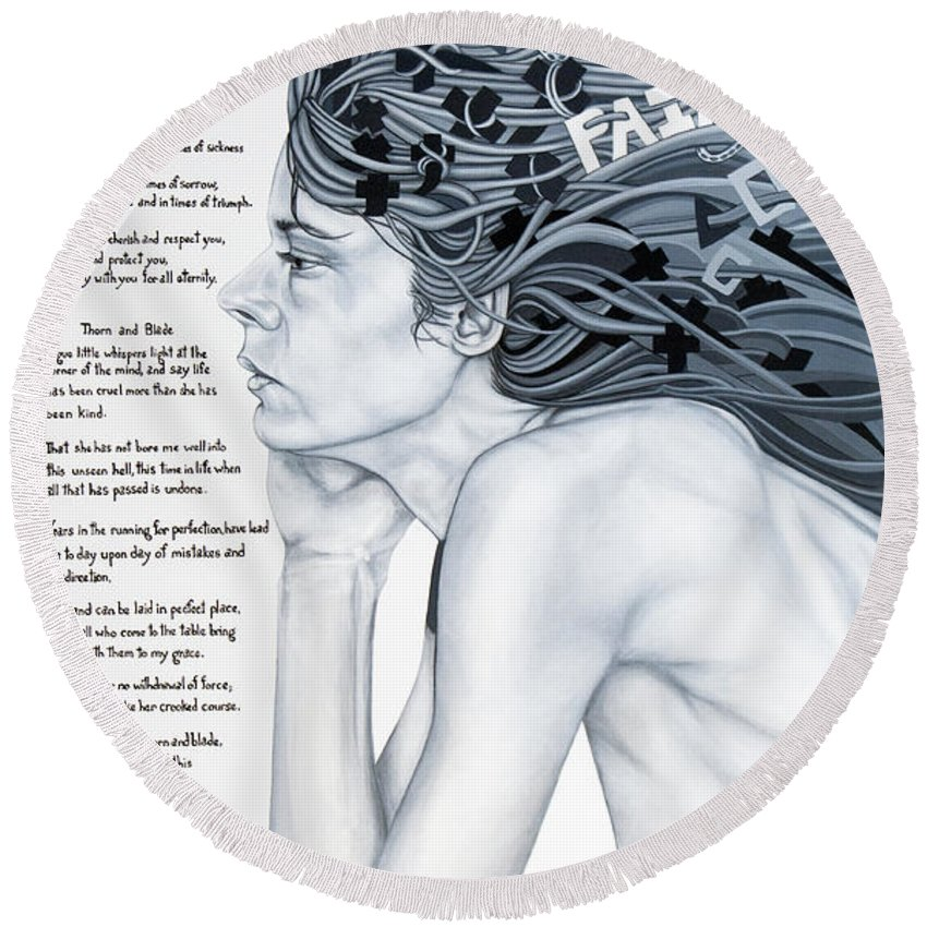 Poetry Round Beach Towel featuring the painting Anatomy Of Pain by Judy Henninger