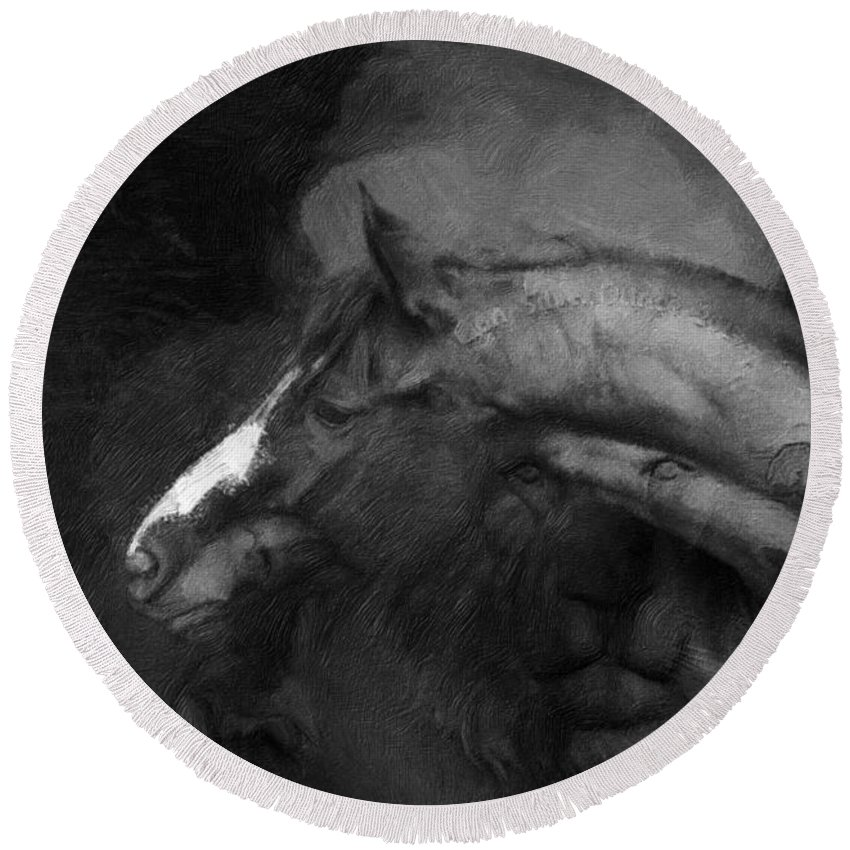 Imia Design Round Beach Towel featuring the digital art Ancient Black Horse No 1 by Maria Astedt