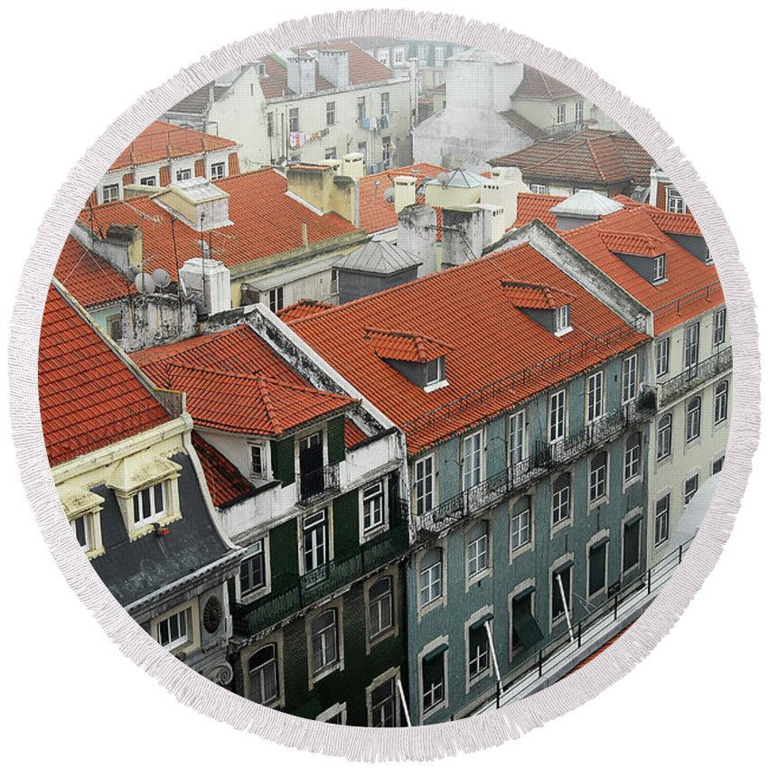 Street Round Beach Towel featuring the digital art Ancient Buildings At Lisbon. Portugal by Carlos Perez Muley