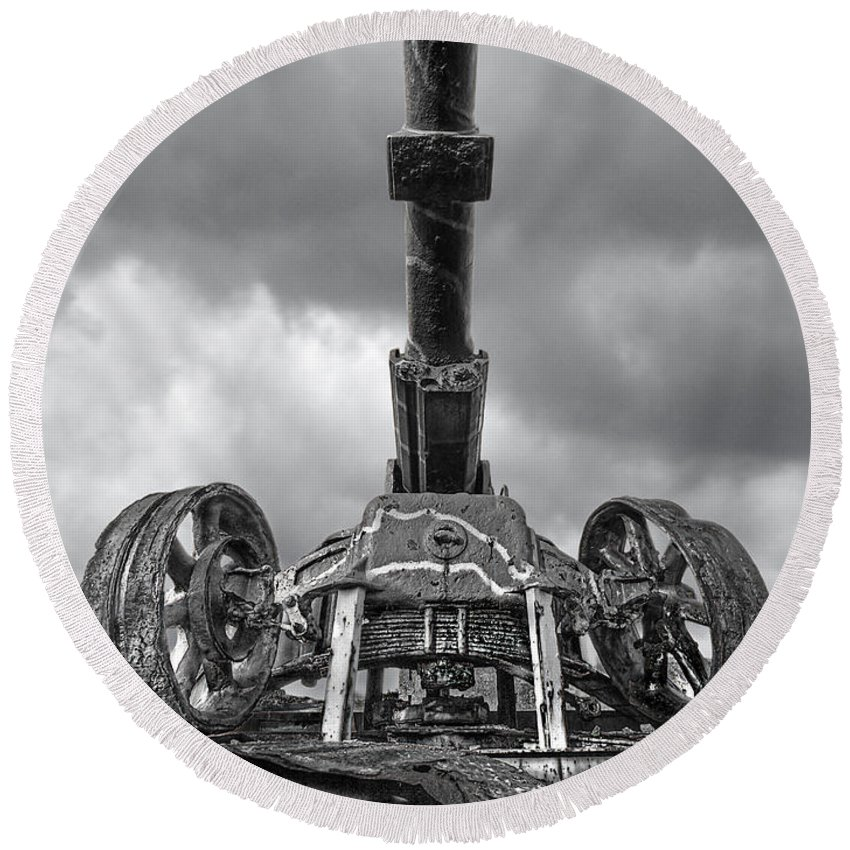 Cannon Round Beach Towel featuring the photograph Ancient Cannon In Black And White by Gill Billington
