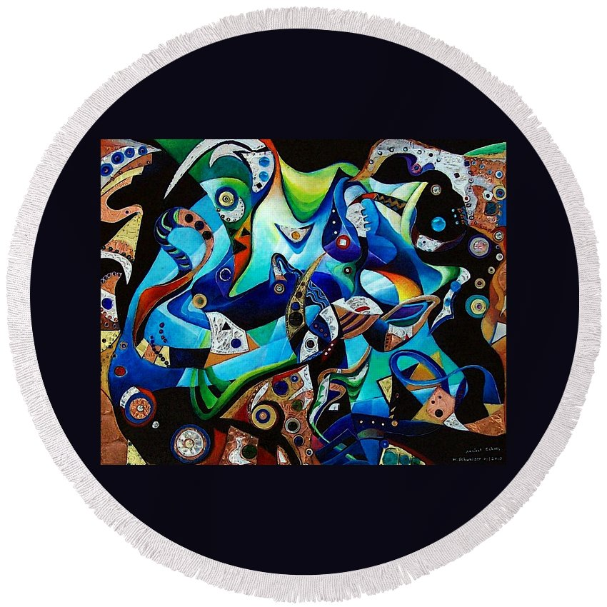 Abstract Acrylic Painting Metal Metalwork Embossing Embossed Gems Lapis Lazuli Onyx Ruby Spinel Round Beach Towel featuring the painting Ancient Echoes by Wolfgang Schweizer