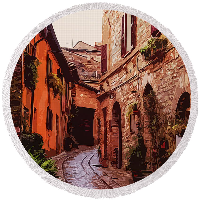 Italy's Most Beautiful Villages Round Beach Towel featuring the painting Ancient Italian Village by Andrea Mazzocchetti