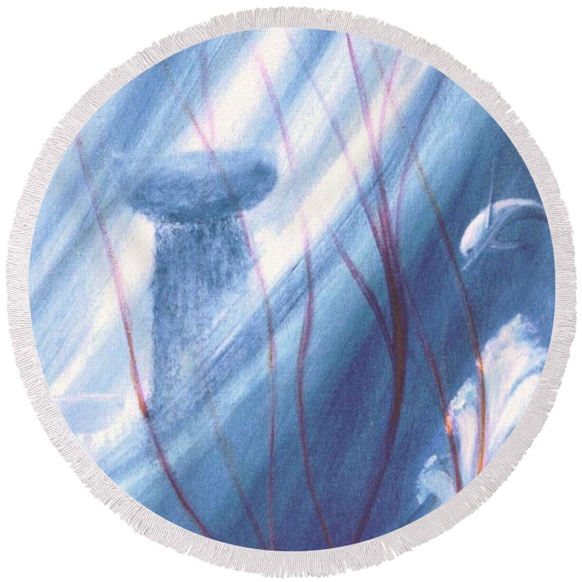 Underwater Seascape Round Beach Towel featuring the painting Ancient Latte by Dina Holland