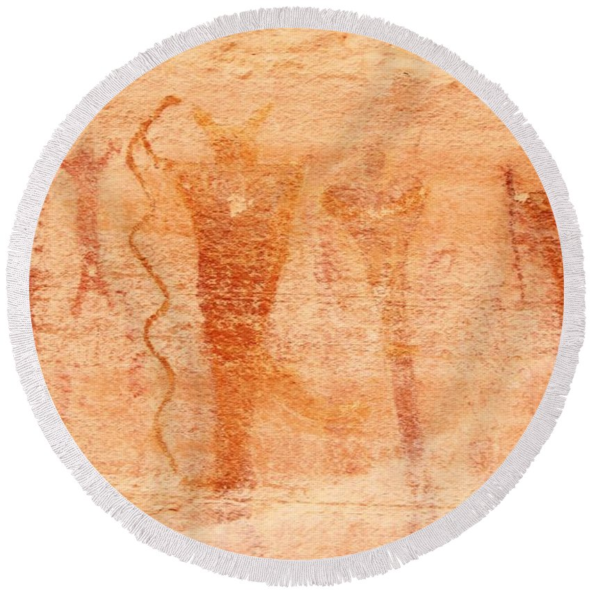 Nature Round Beach Towel featuring the photograph Ancient Rock Art 2 by Tonya Hance