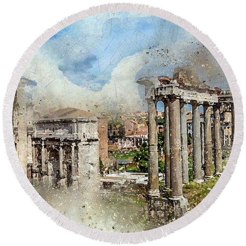 Rome Round Beach Towel featuring the digital art Ancient Rome II by Ronald Bolokofsky