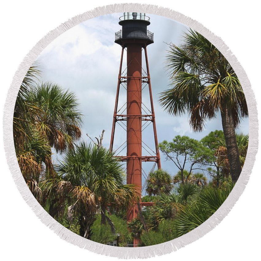 Lighthouse Round Beach Towel featuring the photograph Anclote Key Lighthouse by Barbara Bowen