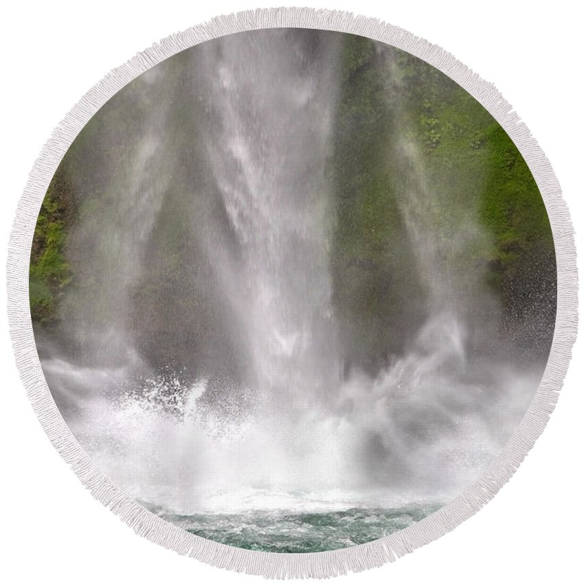 Waterfall Round Beach Towel featuring the photograph And Down Comes The Water by Betsy Knapp