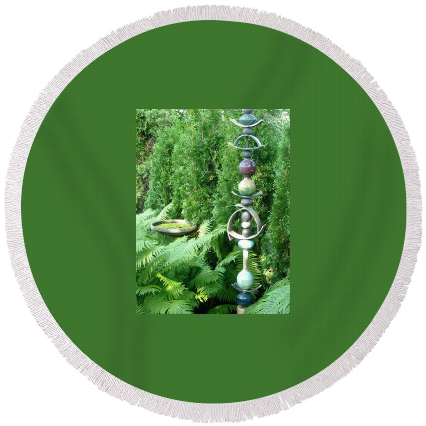 Sculpture Round Beach Towel featuring the photograph And Sculpture Garden by Line Gagne