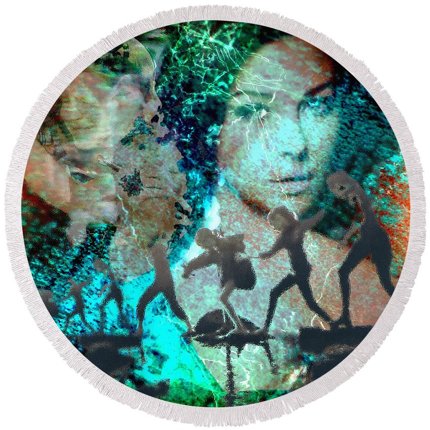 Childhood Round Beach Towel featuring the digital art And that Reminds Me by Seth Weaver