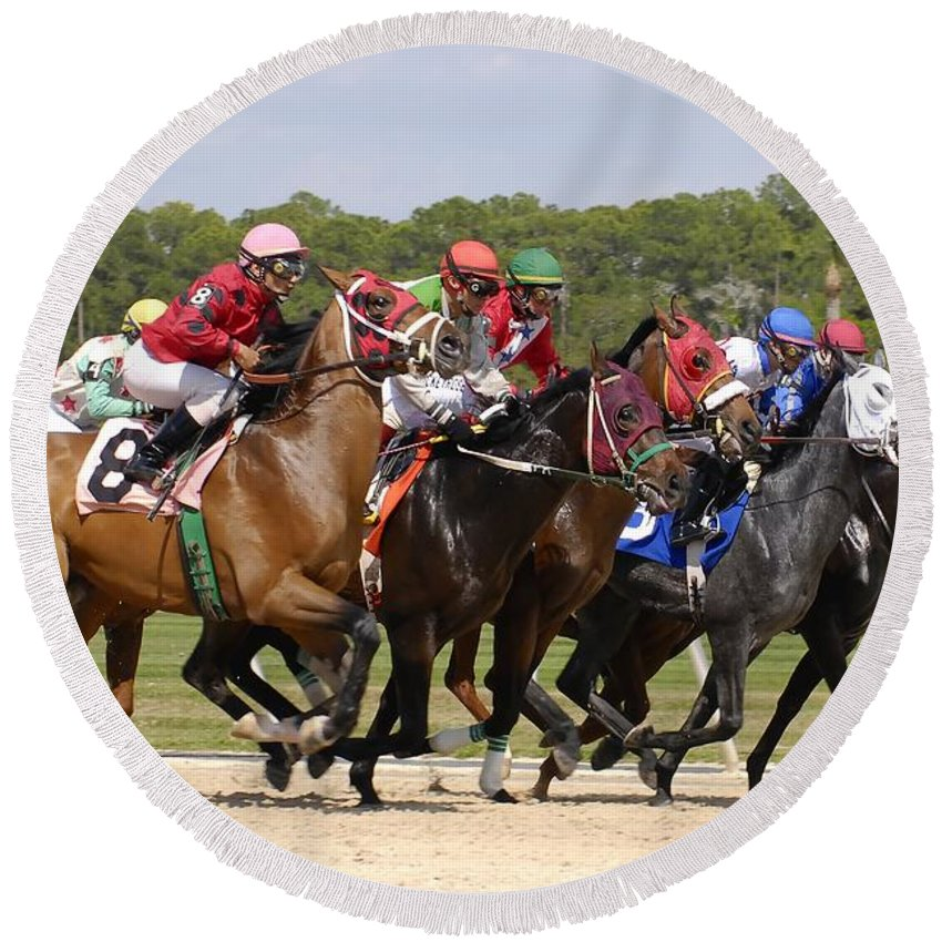 Horse Racing Round Beach Towel featuring the photograph And Their Off by David Lee Thompson