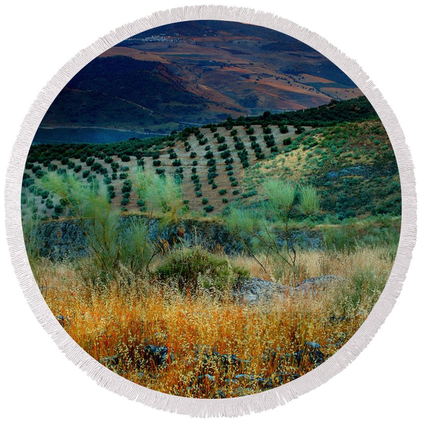 Andalucia Round Beach Towel featuring the photograph Andalucian Landscape by Mal Bray