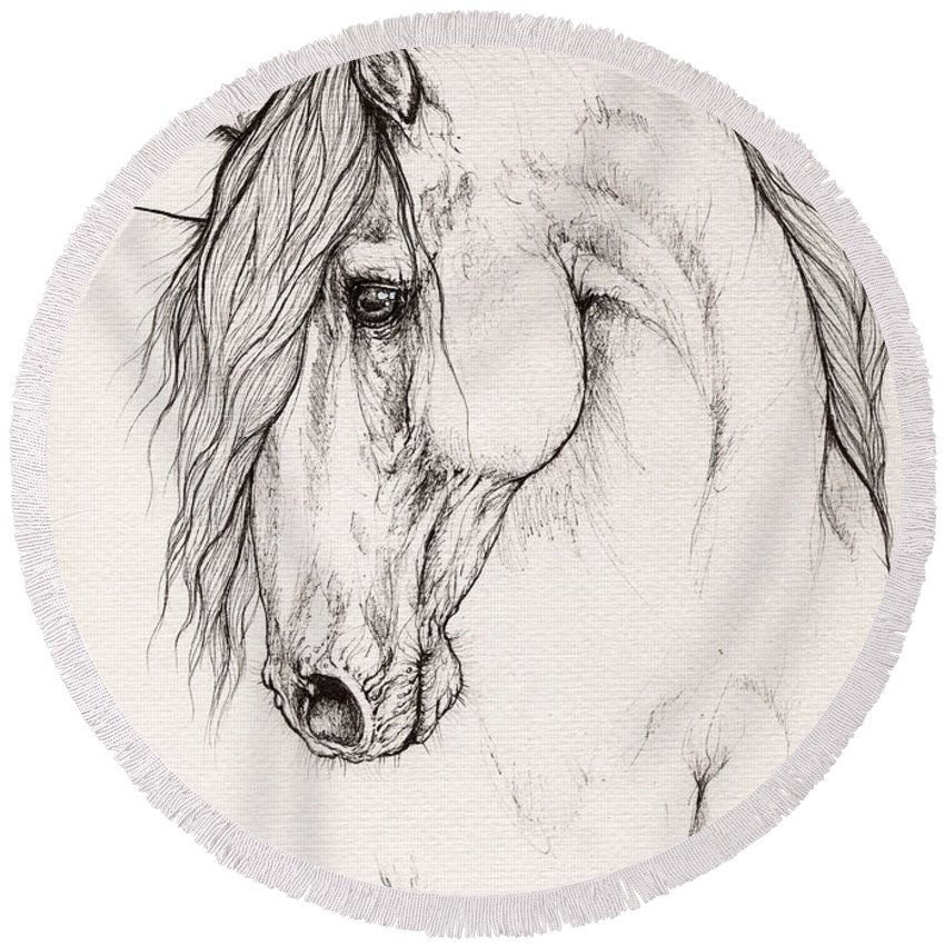 Horse Round Beach Towel featuring the drawing Andalusian Horse Portrait 2015 12 08 by Angel Ciesniarska