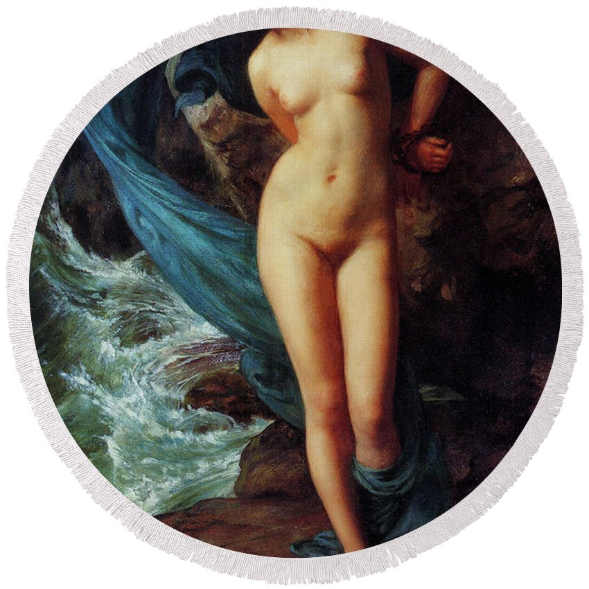 Andromeda Round Beach Towel featuring the painting Andromeda by Sir Edward John Poynter