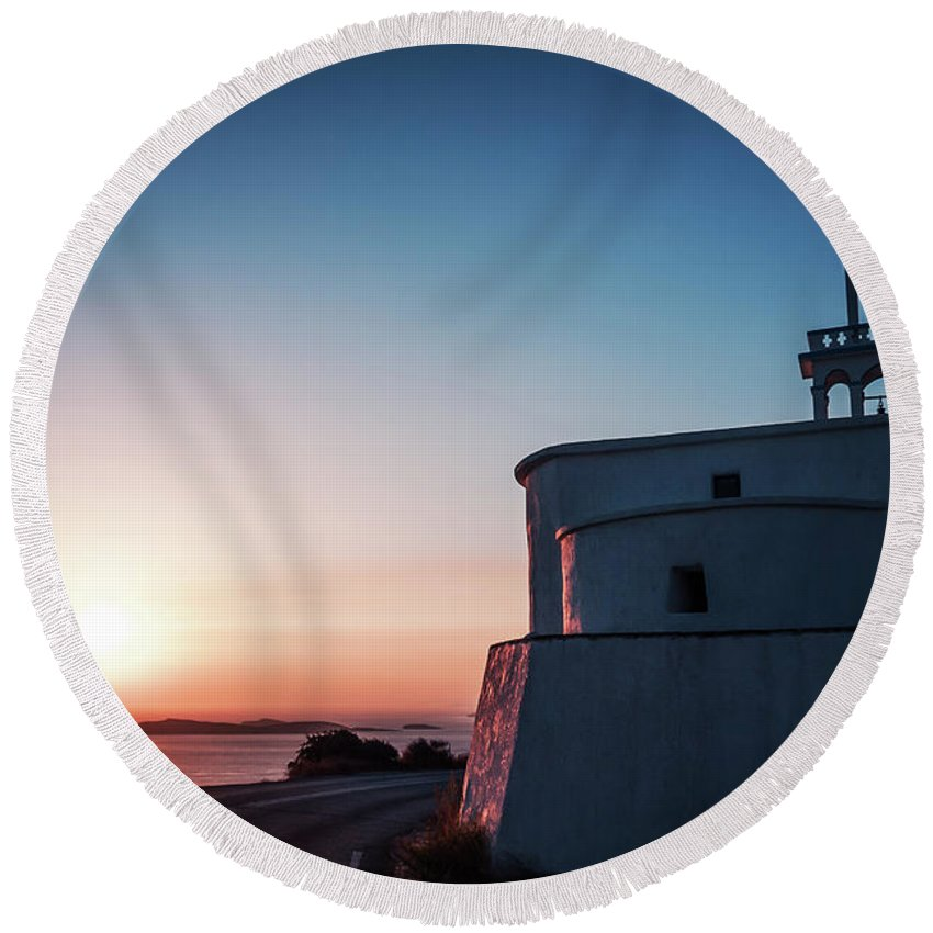 Andros Round Beach Towel featuring the photograph Andros Island Sunset - Greece by Alexander Voss