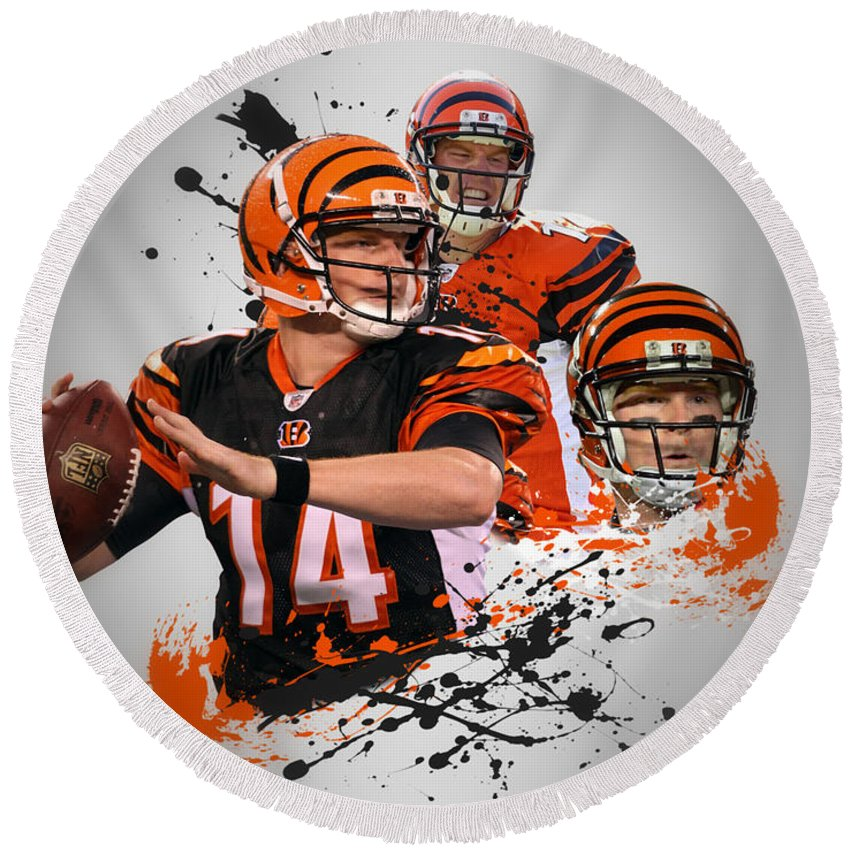 Bengals Round Beach Towel featuring the photograph Andy Dalton Bengals by Joe Hamilton