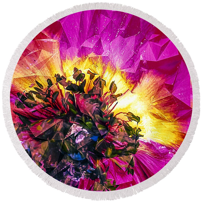 Anemone Abstracted In Fuchsia Round Beach Towel featuring the digital art Anemone Abstracted In Fuchsia by Anna Porter