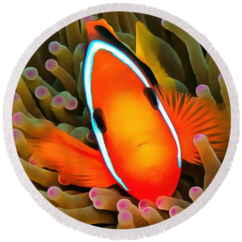 Anemone Fish Round Beach Towel featuring the photograph Anemone Fish by Sergey Lukashin