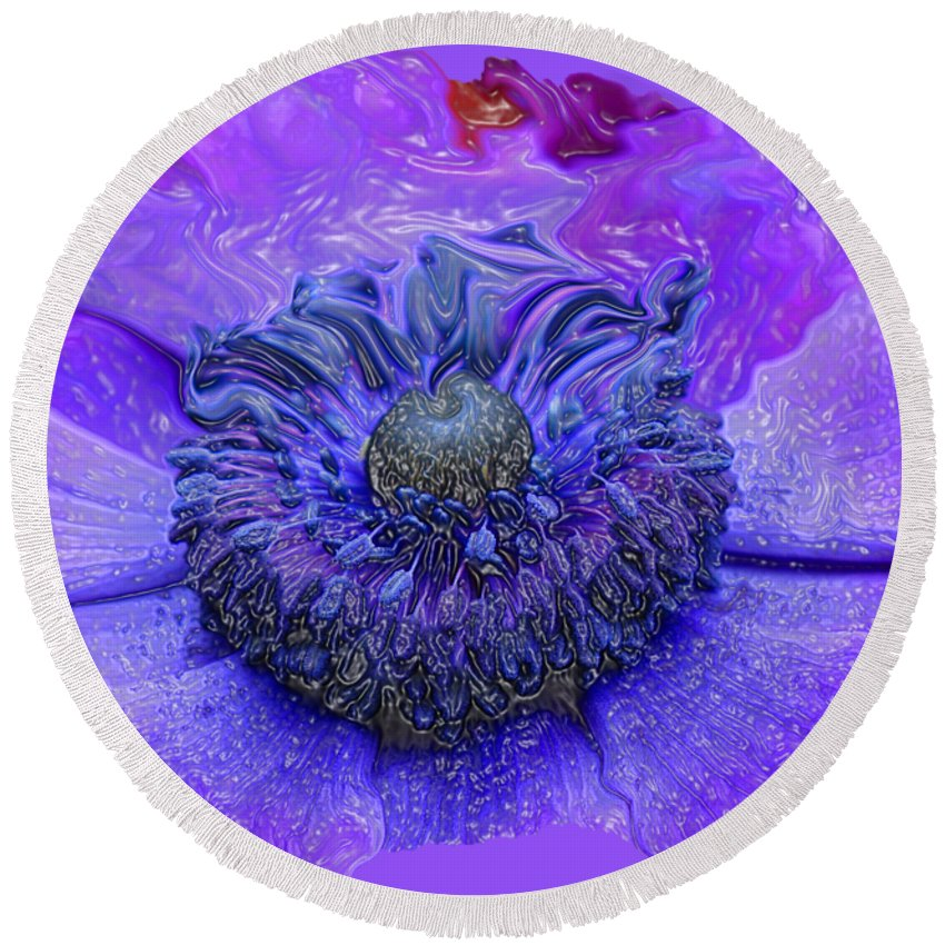 Abstract Flower Round Beach Towel featuring the photograph Anemone by Kathy Moll