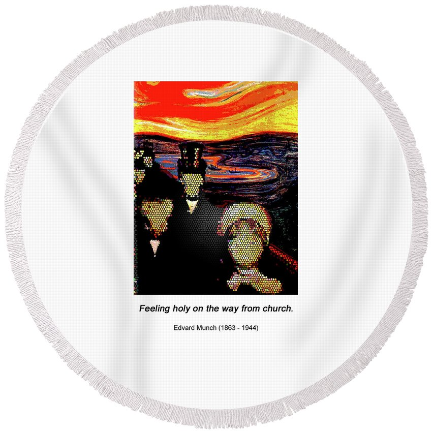 Altered Art Round Beach Towel featuring the painting Anexity by John Saunders