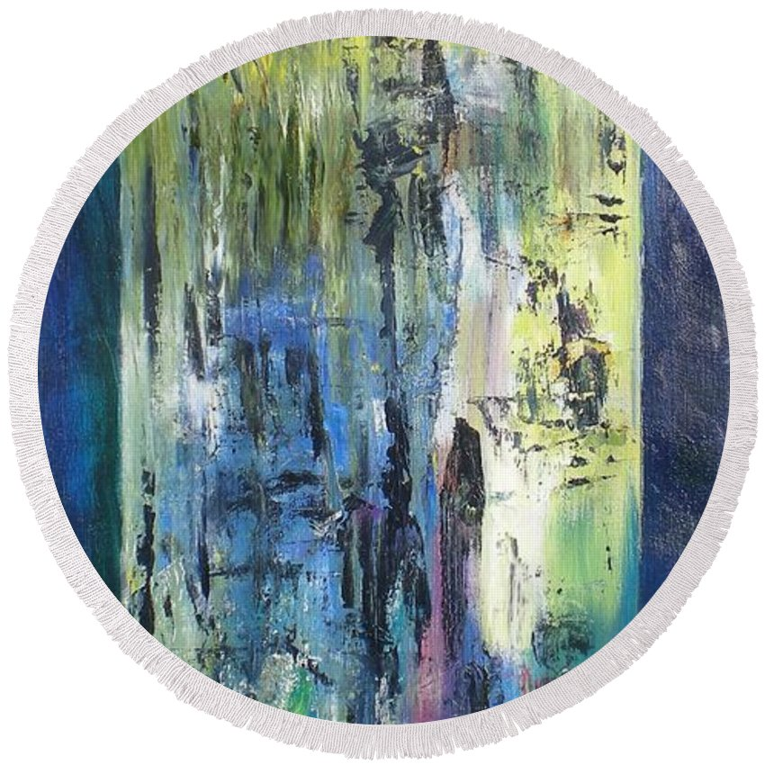 Abstract Round Beach Towel featuring the painting Angel 1 by Hal Newhouser