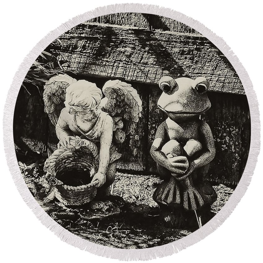Angel Round Beach Towel featuring the photograph Angel And Frog by Bill Cannon