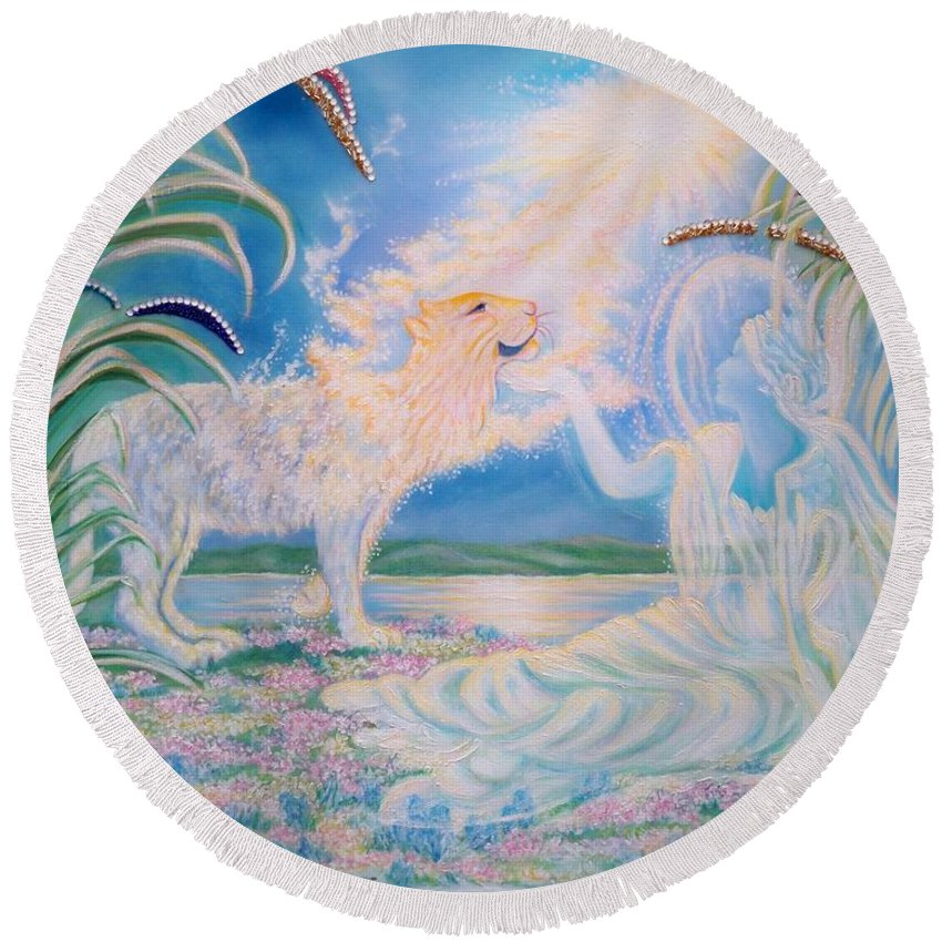 Soft Colors Round Beach Towel featuring the mixed media Chloe The Flying Lamb Productions.      Ask The Beasts And They Will Teach You. by Sigrid Tune