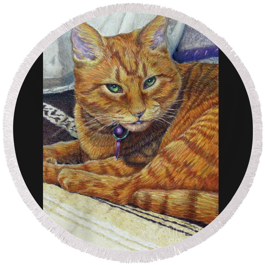 Fuqua Gallery-bev-artwork Round Beach Towel featuring the drawing Angel by Beverly Fuqua