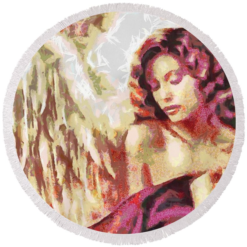 Angel Fragmented Round Beach Towel featuring the digital art Angel Fragmented by Catherine Lott