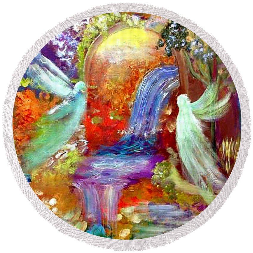Angels Round Beach Towel featuring the painting Angel Gate by Annette Trent