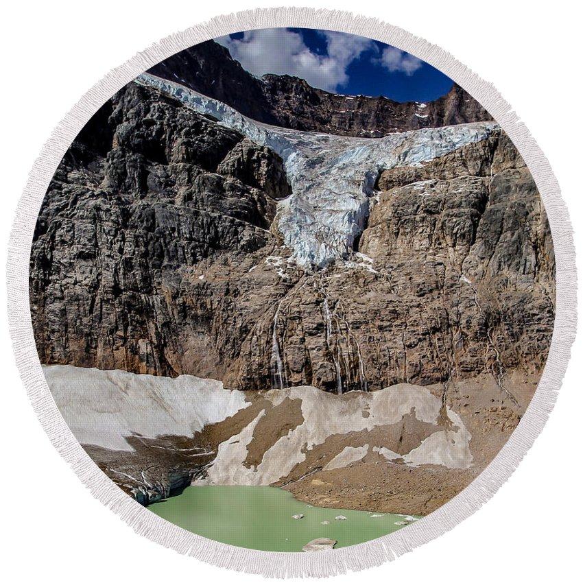 Glacier Round Beach Towel featuring the photograph Angel Glacier Jasper 2 by Mo Barton