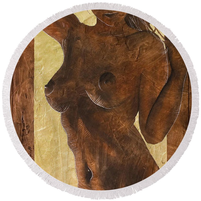 Nude Round Beach Towel featuring the painting Angel In Gold by Richard Hoedl