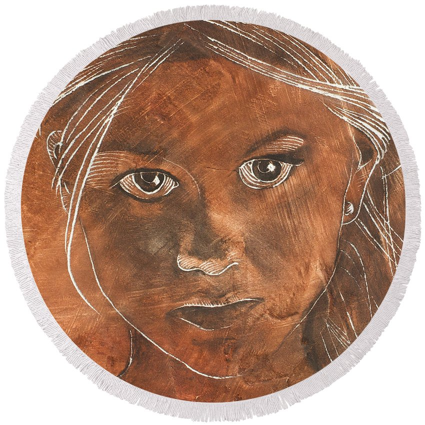 Nude Round Beach Towel featuring the painting Angel In Process Head Detail by Richard Hoedl