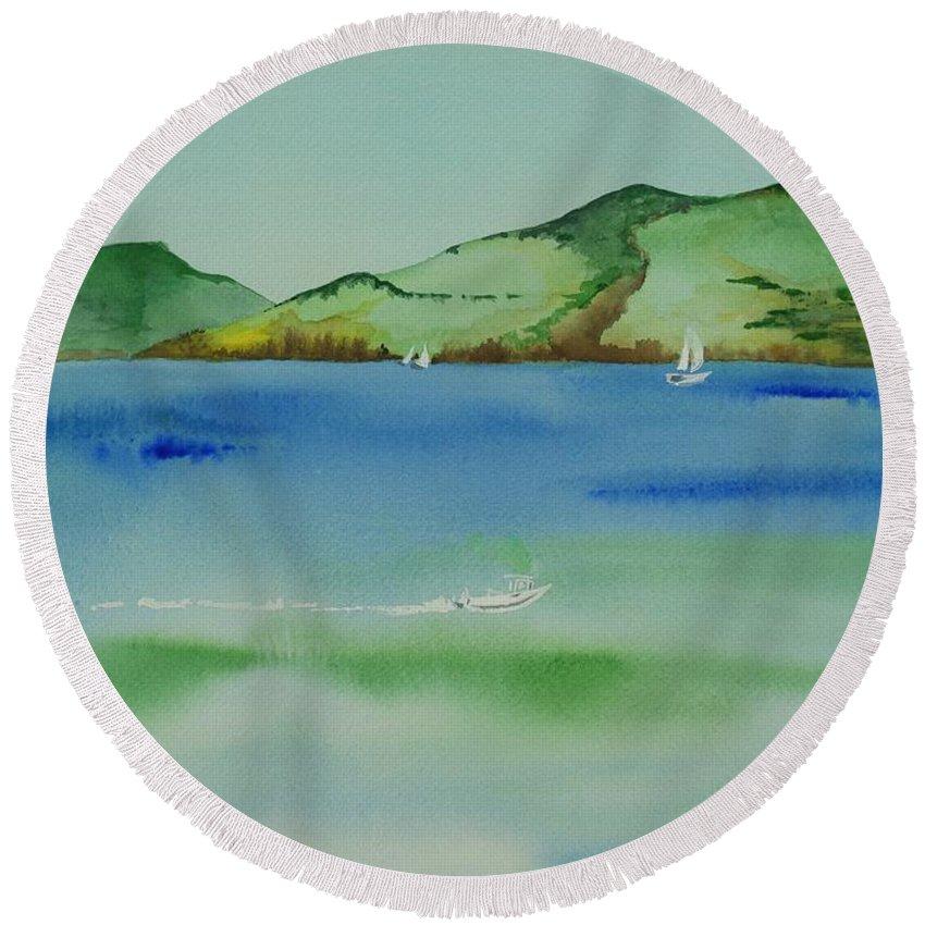 Angel Island Round Beach Towel featuring the painting Angel Island Unplugged by Janine Hunn