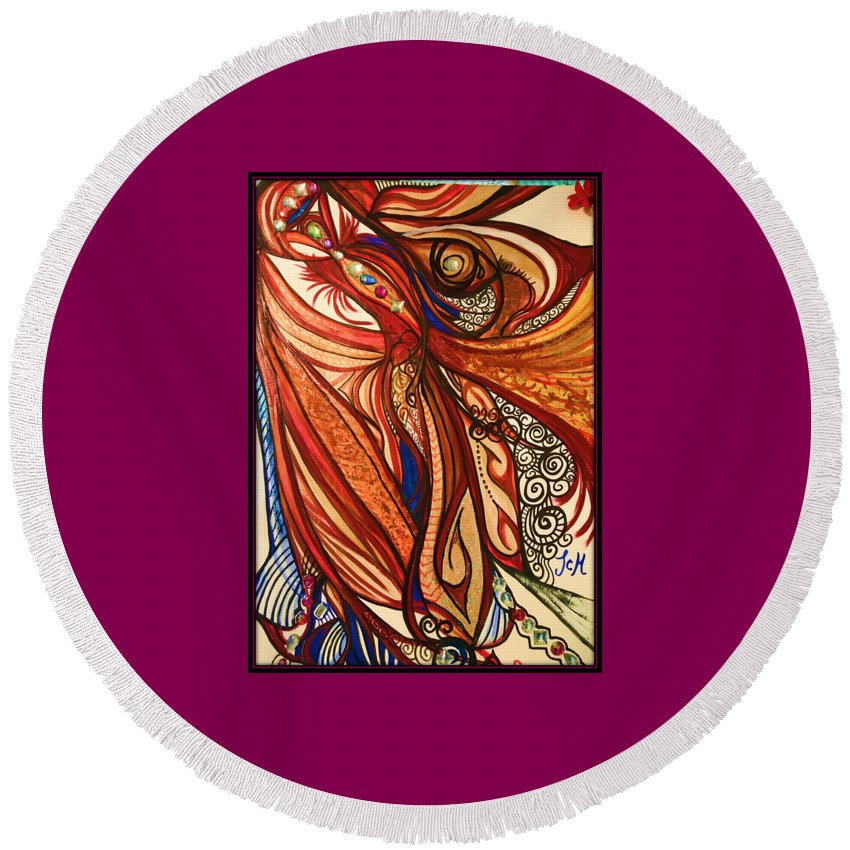 Abstract Art Round Beach Towel featuring the mixed media Angel Lucifer by Michelle Smith