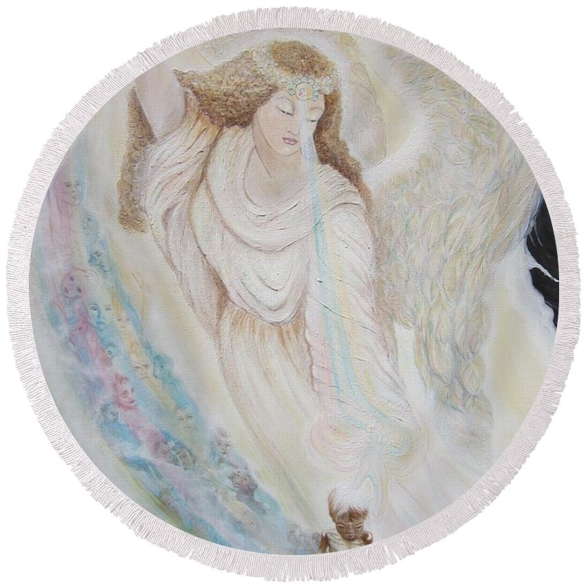 Angel Round Beach Towel featuring the painting Flying Lamb Productions.  Angel Of Mercy -2 by Sigrid Tune