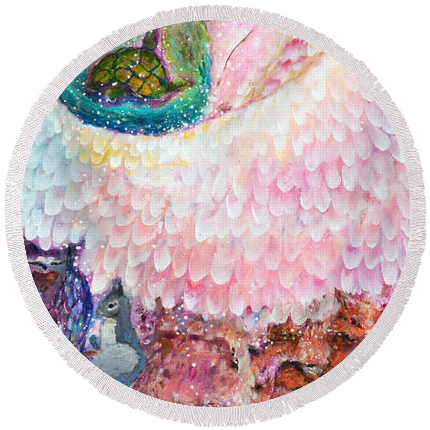 Angel Round Beach Towel featuring the painting Angel Of Protection by Ashleigh Dyan Bayer