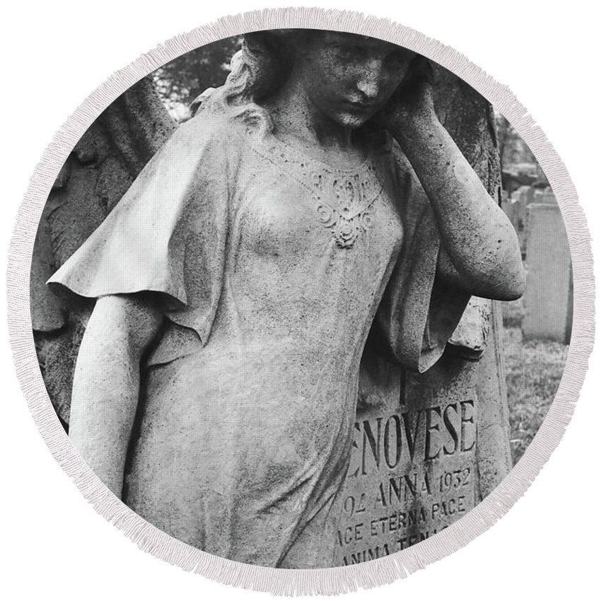 Calvary Cemetery Round Beach Towel featuring the photograph Angel On The Ground At Cavalry Cemetery, Nyc, Ny by David Wolanski