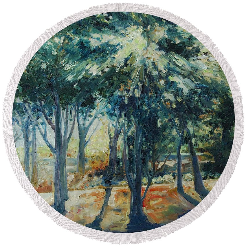 Trees Round Beach Towel featuring the painting Angel Rays by Rick Nederlof