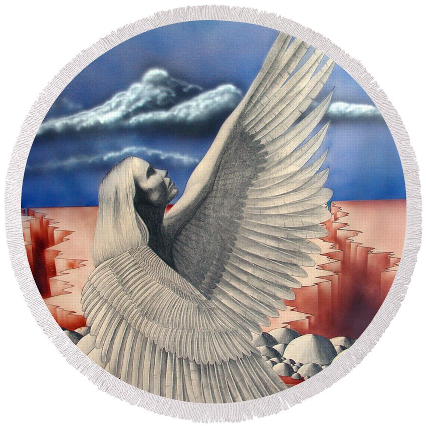Shaun Round Beach Towel featuring the painting Angel by Shaun McNicholas