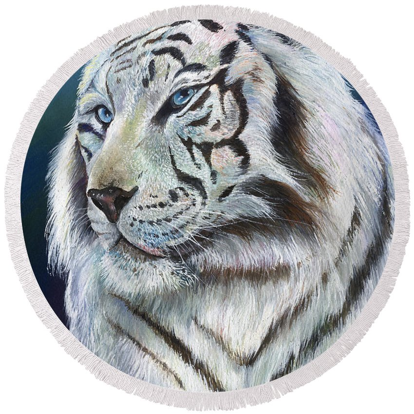Big Cat Round Beach Towel featuring the painting Angel The White Tiger by Sherry Shipley