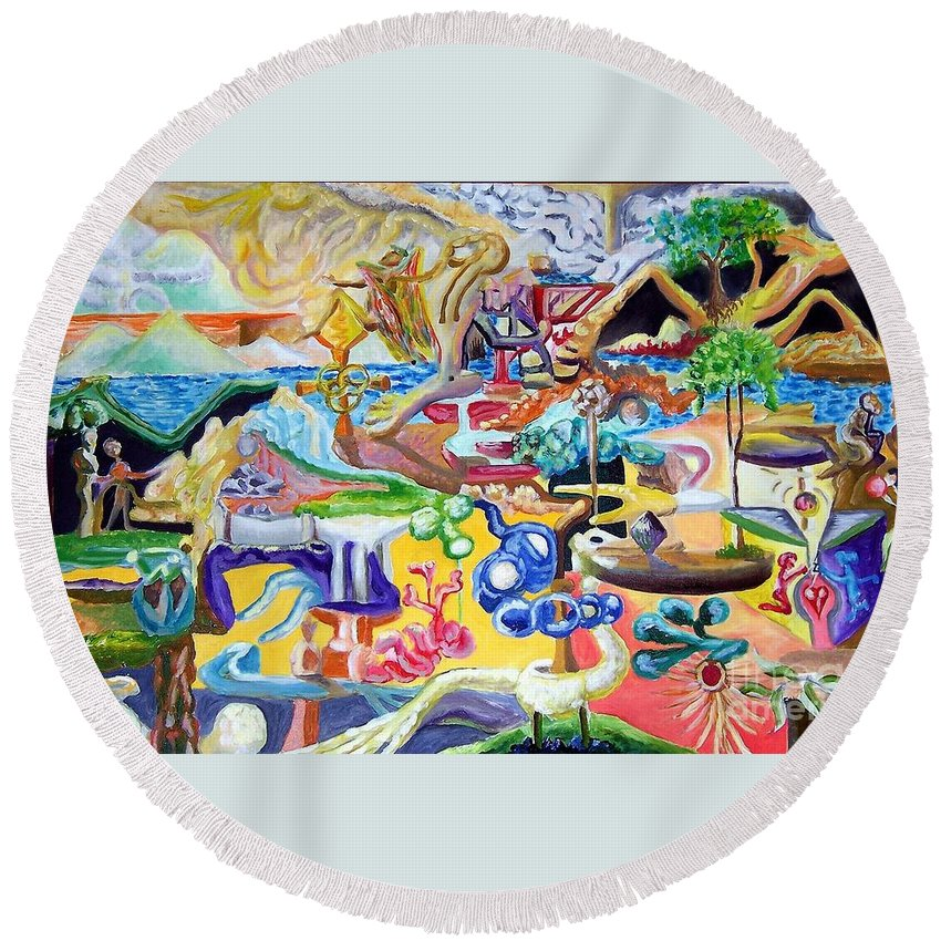 Angel Round Beach Towel featuring the painting Angel Walks Away by Timothy Michael Foley